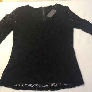 Suzy Shier Black 3/4 sleeve lace top